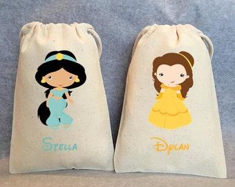 "24- Princess Party, Princess Birthday,  Princess Favors, Belle, Jasmine, Snow White, Ariel, Aurora, Princess party favor bags, 5""x8"""