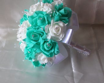 Turquoise Bouquet White Rose Bridal Ribbon Pearl Luxury Wedding Flower 9 Inches Width Turqoise