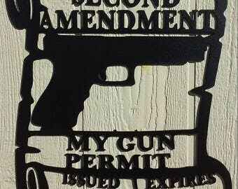 Second Amendment Gun Permit Metal Wall Art