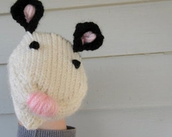 Opossum Hand Puppet Hand Knit Sock Puppet for Adult or Child Birthday Gift Present Toy Pretend Play Knit Animal Opossum