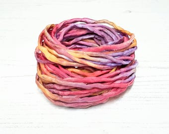 Silk Cord hand dyed rainbow pink red orange silk string 4mm