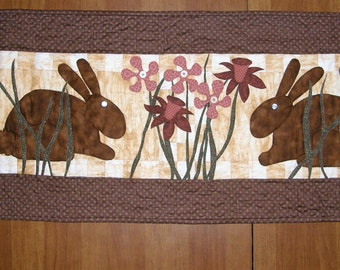 Art Quilt, Rabbits Flowers Quilted Wall Hanging, Easter Wall Art, Quiltsy Handmade, Little Girl Wall Hanging, Quilted Wall Art, Bunnies