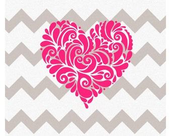 Filigree Heart Decal, Vinyl Filigree Heart Decal, Heart Decal, Vinyl Heart Decal, Heart YETI decal, Filigree YETI Decal