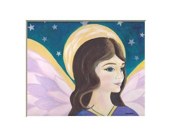 Angel art print, angel paintings, folk art angel art print, angel wall art, angel pictures, pink and blue angel, inspirational art