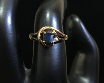 Unmarked LIND Genuine Sapphire 24KT HGE Ring
