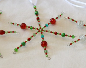 Set of 3 red and green breaded Christmas snowflakes - set 2
