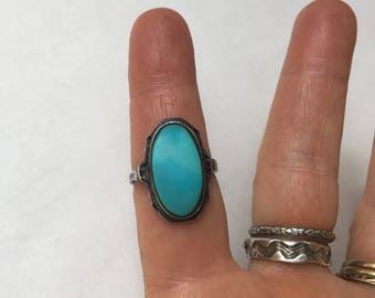antique sterling and turquoise ring, size 7.5