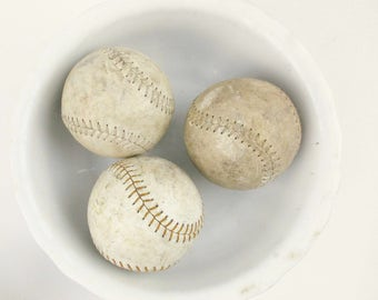 Three Leather Softballs - Used and Beat Up - Red Stitching - Mix and Match With Glass and Ceramic - Wonderful Texture