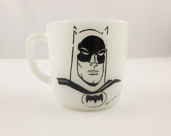 Westfield Vintage 1966 Batman Cup White Milk Glass Mug 2 Sided Dc Comics - Collector Mug