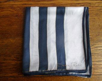 Vintage Oscar de la Renta Large Blue and White Striped Scarf