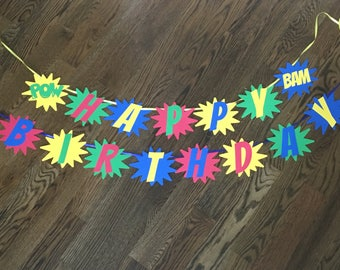 Superhero Happy Birthday Banner