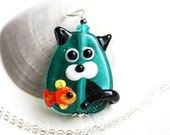 50%off SALE Adopt Cat, Teal green Kitty Pendant, Cat Jewelry, Lampwork glass Cat, Kitten Pendant, Cat and Fish, Cat lover gift, Pet Adoption