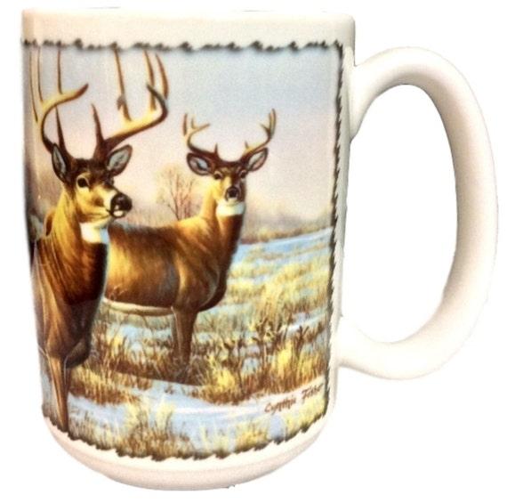 Coffee Mug Deer Buck Wildlife, Christmas Gift for Him, Christmas Gift for A Hunter, Deer Mug, Signed