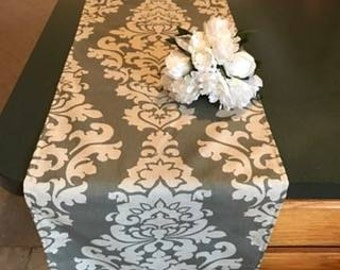 Gray and linen  table runner, damask table runner, weddings