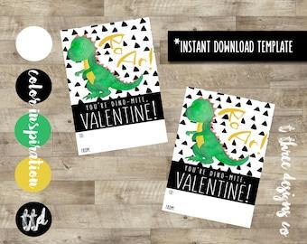 Modern Dinosaur Valentines INSTANT DOWNLOAD, Printable Valentine Cards, kids valentines, child valentines cards, dino mite valentine, dino