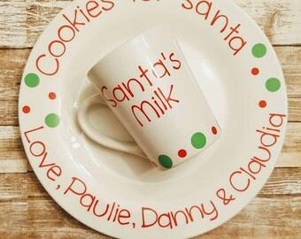 Personalized Santa Cookie Plate / Holiday Santa Plate / Santa's Cookie Plate and Santa's Milk Mug / Personalized Christmas Plates