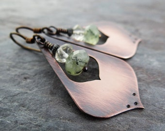 Copper Lotus Petal Earrings || handmade drops with pale green prehnite and quartz stone on hypoallergenic ear wires (4206)