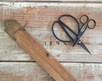 Wooden folding ruler, vintage rustic tool, boxwood Rabone ruler, Made in England, old ruler