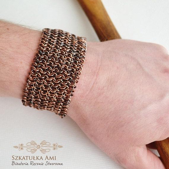 chainmaille bracelet mens bracelet copper bracelet metal. Black Bedroom Furniture Sets. Home Design Ideas