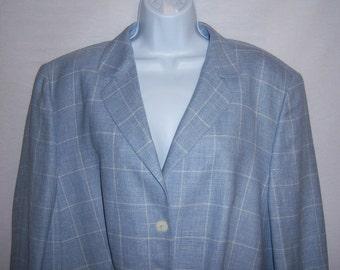 Vintage Basler Light Blue White Checked Plaid Tattersall Jacket Coat 18  XXL 48 Euro Deadstock NOS NWOT Check Plus Blazer Boyfriend