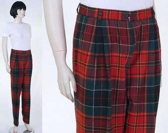 Vintage 1970s Women's Plaid Pants - Red, Black, Green - Cuffed Slacks - Retro Plaid Pants - Tartan Plaid Womens Pants
