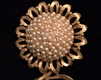 Vintage Costume Jewelry Gold Toned Sunflower Brooch with faux Pearls