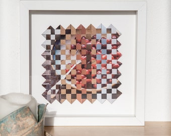 Framed wall art, abstract art, paper weaving art, original artwork, square art, mixed media art, woven paper art. SFW011