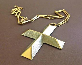 Large Cross Pendant Necklace, ACCESSOCRAFT, Gothic 2-Tone, Vintage