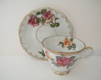 Ries Japan Roses Cup and Saucer, Vintage Japan Porcelain Set with Pink and Yellow Roses Alpine Sunset Grandmother - special gift