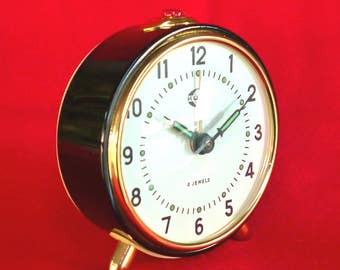 New Old Stock 70's Clock  - Vintage Clock - Style Clock - Alarm Clock - Old Clock - Russian KUCO Original Clock - Winding Clock Nr181