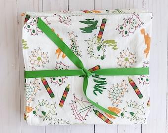 Flannel blanket - Double layer flannel blanket - receiving blanket - baby blanket -crayon art - art - baby gift - flannel - green gingham