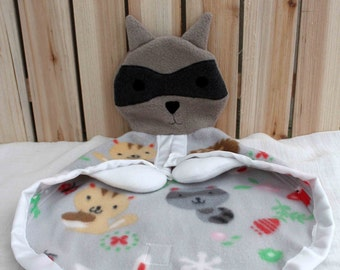 Racoon Hand Puppet and Lovey