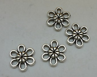 20pcs Flower Connector, 12x11mm Antique Silver Flower Connectors Charms, Jewelry Findings, Bracelet/Necklace Supplies