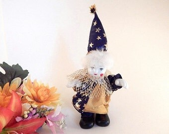 Clown Doll Hand Painted Porcelain 8 Inch Celestial Stars Blue and Gold Circus Clown Collectible Home Decor Craft Supply Gift