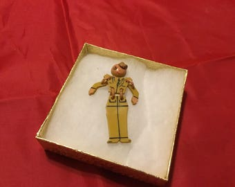 Vintage Buddy Pin Army Buddy Brooch 1940's WWII Celluloid