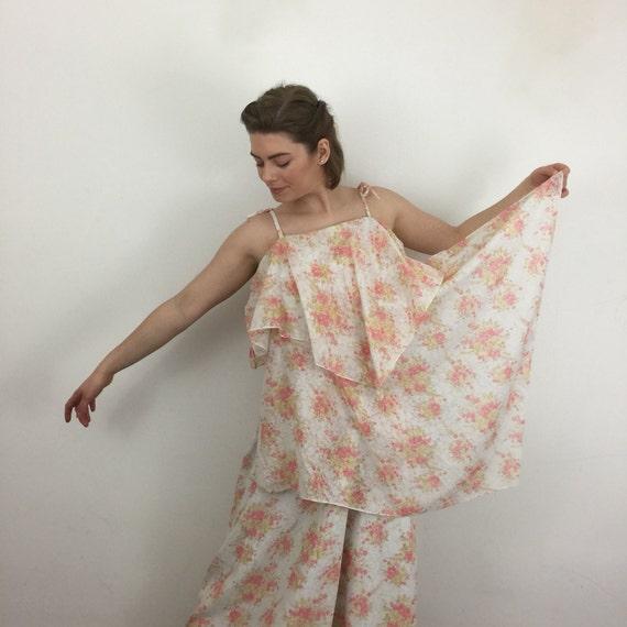 70s maxi dress sheer chiffon cape floaty boho festival long tiered handkerchief dress 1970s costume party UK 12 pink floral
