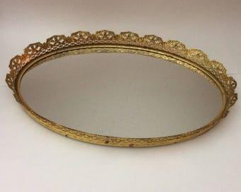 Vintage Mirrored Vanity Perfume Tray, Vintage decorating, boudoir decor, vanity mirror