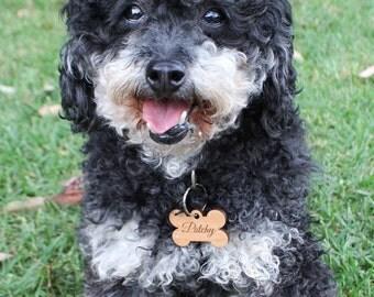 Engraved Wooden Dog Tag Pet Keyring