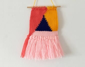Triangle woven wall hanging / Tapestry - Available in Pink , Grey , Blue and Pink , Yellow, Blue - Triangle shape - Home decor , Geometric