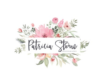 Watercolor Flower Logo - Premade Photography Logo and Watermark Design - Watercolor Logo - Photography or Boutique Logo  - Business Branding