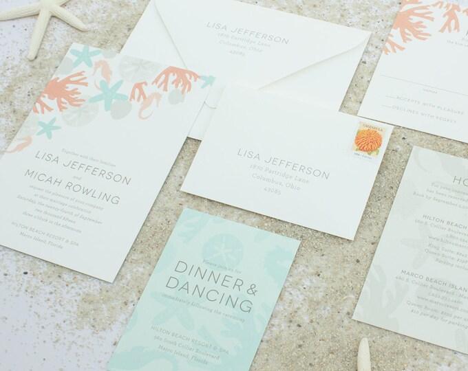 Beach Wedding Invitations, Destination Wedding Invite, Casual Wedding Invitations with Sea Shells, Sand Dollar Invitation SAMPLE