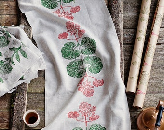Block printed table runner,  lino block printed  Pelargonium, eco friendly