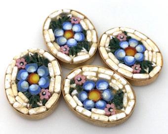 1 Vintage Handmade Italian Mosaic Inlay Floral Cabochon
