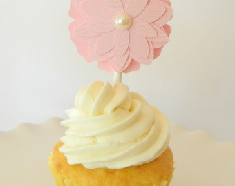 Pink Flower Cupcake Toppers Baby Shower Cupcake Topper Bridal Shower Cupcake Topper Flower Cupcake Topper Wedding Cupcake Topper • Set of 12