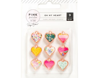 Pink Paislee - Paige Evans - Oh My Heart Collection - Heart Charms - 9 pieces - 310526