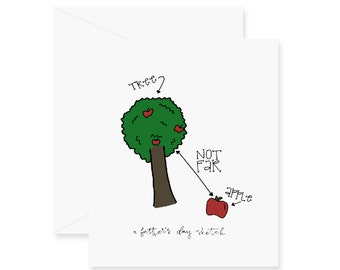 Apple & Tree Father's Day Card - Greeting Card - Fathers Day - Dad Card - Apple - Not Far - Tree - A Father's Day Sketch