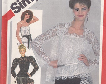 Simplicity 5324 Vintage Pattern Womens Lace Blouse, Camisole and Jacket SIze 10 Bust 32.5 UNCUT