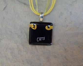 Broadway Musical Cats Glass Pendant and Ribbon Necklace