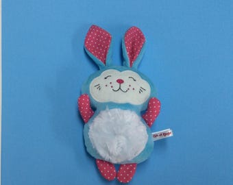 PROMO plush Blue Bunny and pink minky, cotton and wool felt, Easter gift, gift for girl