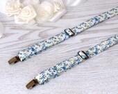 Suspenders Floral Off White   Floral Light Blue Wedding Suspenders  Floral Off White Men's Suspenders